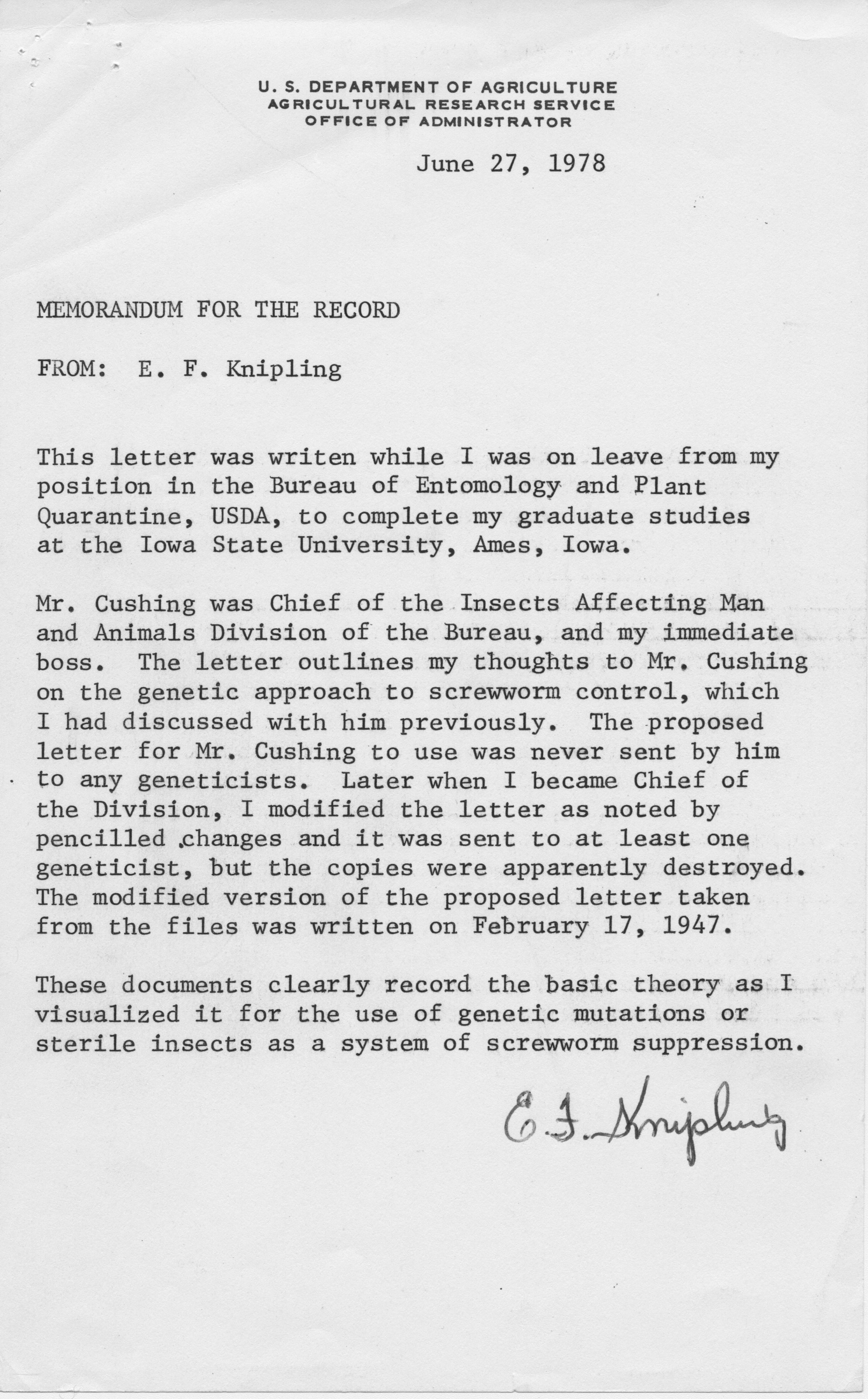 Draft letter from Knipling to Cushing, 1946 May 31 · Special