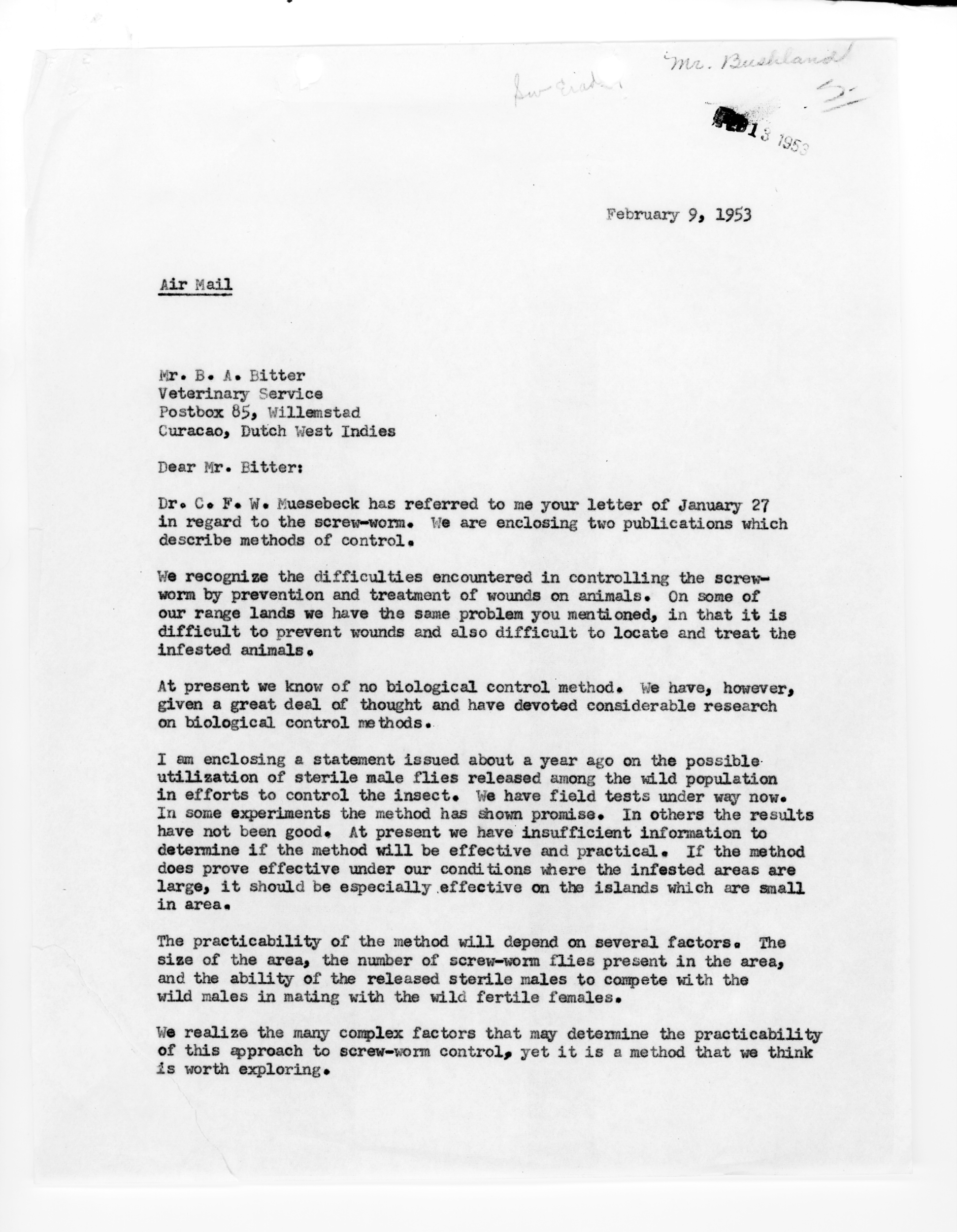 Letter from Knipling to Bitter, 1953-February-9 · Special ...