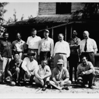 Photograph of group of Sanibel scientists in front of living quarters
