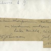 Handwriting sample: A. G. Johnson