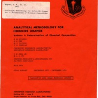 Analytical Methodology for Herbicide Orange: Vol. I: Determination of Chemical Composition, Final Report, December 1972-December 1974