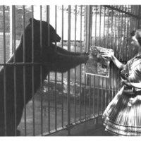 Big Smokey Bear with Judy Bell at National Zoological Park, Washington, D.C. following White House Golden Smokey Presentation