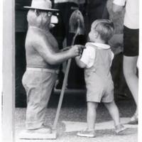 Child with Smokey statue