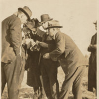 A group of State and Federal officials seeing pink bollworm in the Trinity Bay section. Beginning at the left: Wilmon Newell, Plant Commissioner of Florida; Ernest E. Scholl, Entomologist of Texas; K.H. Townsend, Federal Horticultural Board; W.D. Hunter, Member of Board; Fred W. Davis, Comissioner of Texas.