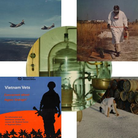 A collage featuring a Vietnam Vets poster with a soldier's silhouette;two aircraft in the sky; alvin young doing field research; and a laboratory setting with beakers and test tubes.