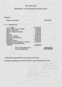 Thumbnail for the first (or only) page of 1957 Fiscal Year:  Expenditures on the Florida Screw-Worm Project.