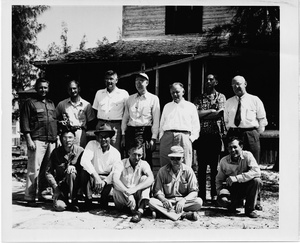 Thumbnail for the first (or only) page of Photograph of group of Sanibel scientists in front of living quarters.