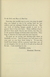 Thumbnail for the first (or only) page of Herbert Hoover message, USFA book.