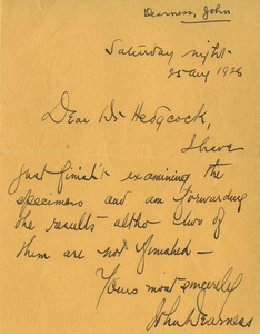 Thumbnail for the first (or only) page of Handwriting sample: John  Dearness.