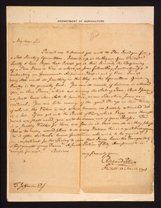 Thumbnail for the first (or only) page of Letter from Peters, Richard to Thomas Jefferson, concerning a plan for a state agricultural society..