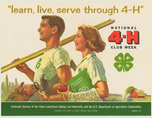 Thumbnail for the first (or only) page of learn, live, serve through 4-H March 3-10 (1962)..