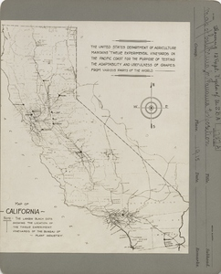 Thumbnail for the first (or only) page of Map of California for Panama Exposition showing location of 12 U.S. Department of Agriculture experimental vineyards.