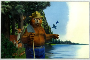 Thumbnail for the first (or only) page of Smokey pointing at lake..