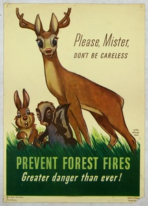 """Thumbnail for the first (or only) page of Walt Disney's Bambi: """"Please, Mister, don't be careless. Prevent Forest Fires. Greater danger than ever!"""" ."""