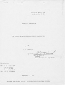 Thumbnail for the first (or only) page of Memo from Giddings to , 1972-September-15.