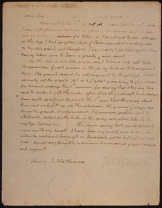 Thumbnail for the first (or only) page of Letter from Jefferson, Thomas to Henry E. Watkins, transmitting succory seed and outlining the culture of succory..