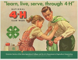 Thumbnail for the first (or only) page of learn, live, serve, through 4-H March 5-12 (1960)..