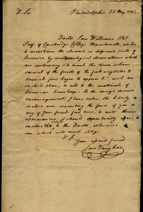 Thumbnail for the first (or only) page of Vaughan to Marshall, May 22, 1786.