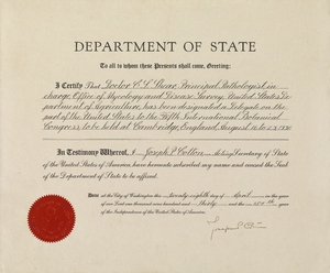 Thumbnail for the first (or only) page of Delegate Certificate signed by Joseph P. Cotton.