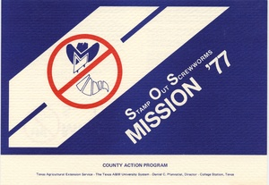 Thumbnail for the first (or only) page of Stamp Out Screwworms--Mission '77.