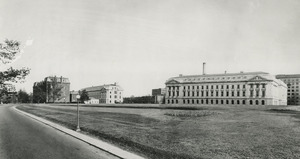 Thumbnail for the first (or only) page of New East Wing of USDA Building; second floor occupied by Zoological Division, 1908-1942. This view shows new East and West wings before being joined by Center Administration Building. View from North West toward South East..
