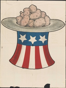 Thumbnail for the first (or only) page of Untitled graphic poster showing an Uncle Sam hat filled past the brim with potatoes.