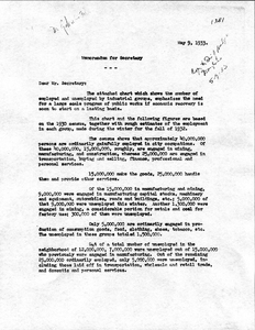 Thumbnail for the first (or only) page of Ezekiel memo, May 9, 1933.