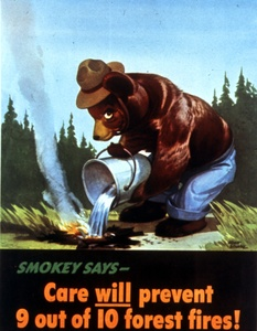 Thumbnail for the first (or only) page of Smokey says - Care will prevent 9 out of 10 forest fires!.