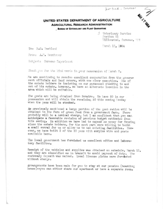 Thumbnail for the first (or only) page of Memo from Baumhover to Bushland, 1954-March-13.