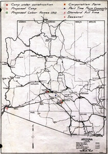 Thumbnail for the first (or only) page of FSA Labor camp maps - Arizona.