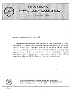 Thumbnail for the first (or only) page of FAO/SECNA Screwworm Information.