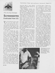Thumbnail for the first (or only) page of With Sterility Technique Screwworms Eradicated from U. S.