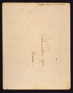 Thumbnail for the first (or only) page of Letter from Prince Edward and Watkins, Henry E. to Thomas Jefferson. Back of letter..
