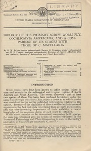 Thumbnail for the first (or only) page of Biology of the Primary Screw Worm Fly, Cochliomyia americana, and a Comparison of Its Stages With Those of C. macellaria.