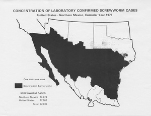 Thumbnail for the first (or only) page of Concentration of Laboratory Confirmed Screwworm Cases:  United States-Mexico, Calendar Year 1975.