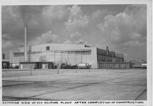 "Thumbnail for the first (or only) page of Photograph ""Exterior View of Fly-Rearing Plant After Completion of Construction."
