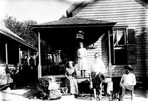 Thumbnail for the first (or only) page of The home of the Superintendent of Mrs. Platt's orange grove in Florida marks the beginning of the filed studies of citrus diseases. Smith and Swingle first landed here in 1891, July..