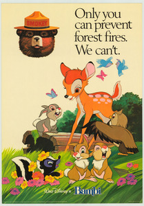"""Thumbnail for the first (or only) page of Walt Disney's Bambi: """"Only you can prevent forest fires. We can't."""" ."""