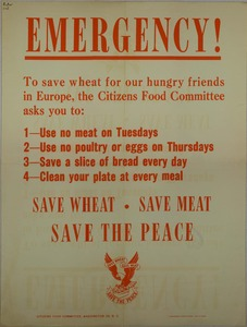 Thumbnail for the first (or only) page of EMERGENCY! Save Wheat. Save Meat. Save the Peace..