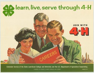 Thumbnail for the first (or only) page of learn, live, serve through 4-H March 2-9 (1963)..