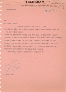Thumbnail for the first (or only) page of Telegram from Struykyen to Moseman, 1954-February-17.