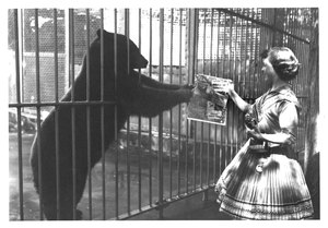 Thumbnail for the first (or only) page of Big Smokey Bear with Judy Bell at National Zoological Park, Washington, D.C. following White House Golden Smokey Presentation .