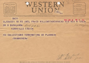 Thumbnail for the first (or only) page of Telegram from Baumhover to Bushland, 1955-January-6.