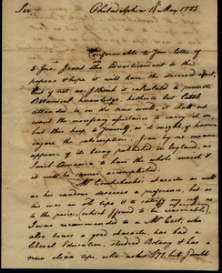 Thumbnail for the first (or only) page of Vaughan to Marshall, May 14, 1785.