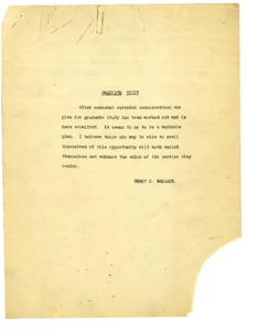 Thumbnail for the first (or only) page of Plan to introduce graduate studies at the USDA Graduate School in 1921.