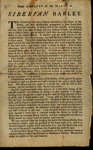 """Thumbnail for the first (or only) page of Broadside """"Siberian Barley,"""" n.d.."""