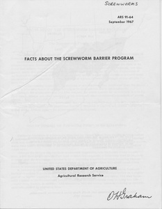 Thumbnail for the first (or only) page of Facts about the Screwworm Barrier Program.