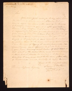 Thumbnail for the first (or only) page of Letter from Prince Edward and Watkins, Henry E. to Thomas Jefferson, asking for some more succory seed..