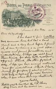 Thumbnail for the first (or only) page of Hotel Du Parc Locarno Letter.