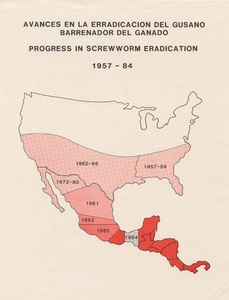 Thumbnail for the first (or only) page of Avances en la Erradicacion del Gusano Barrenador del Ganado; Progress in Screwworm Eradication, 1957-1984&lt;br /&gt;<br /> .